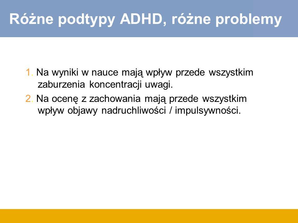 Różne podtypy ADHD, różne problemy 1.