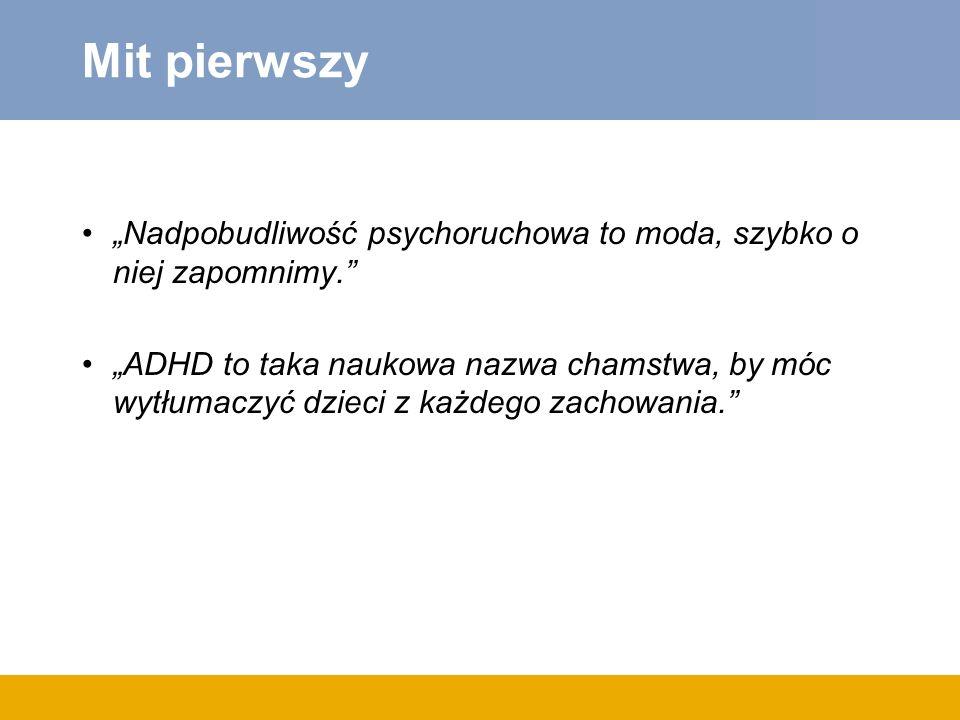 Model leczenia ADHD biblioterapia Wykłady dla rodziców, nauczycieli w szkole Warsztaty dla nauczycieli Warsztaty dla rodziców Psychoedukacj a w gabinecie lekarskim Warsztaty dla dzieci (kontakty społeczne, samoocena) Psychoedukacj a Farmakoterapi a