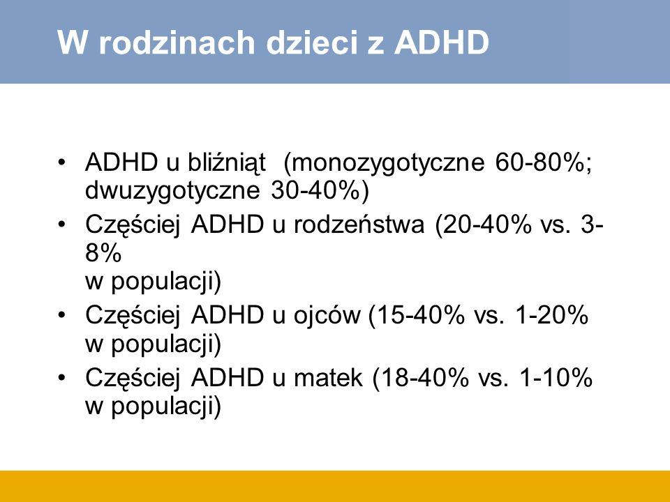 W rodzinach dzieci z ADHD ADHD u bliźniąt (monozygotyczne 60-80%; dwuzygotyczne 30-40%) Częściej ADHD u rodzeństwa (20-40% vs.