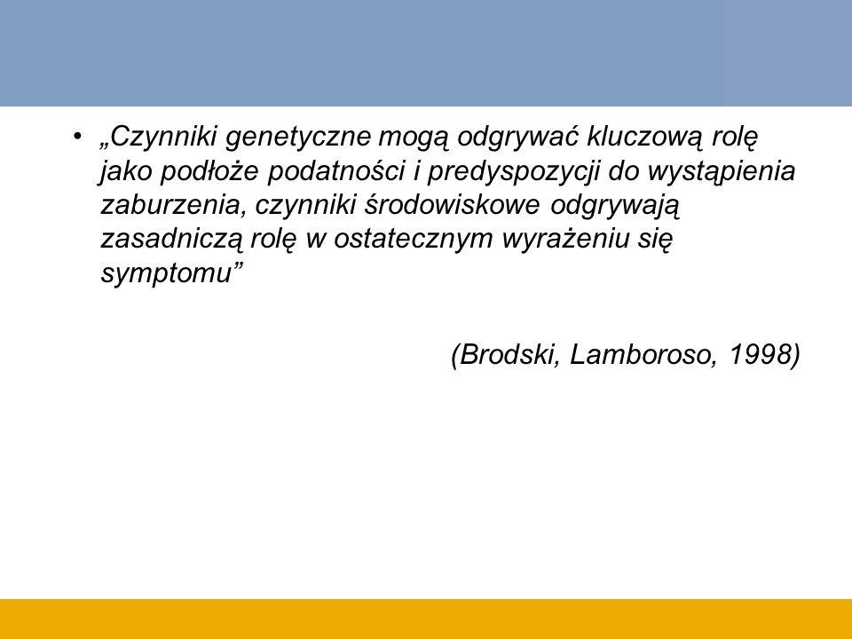 Czynniki genetyczne mogą odgrywać kluczową rolę jako podłoże podatności i predyspozycji do wystąpienia zaburzenia, czynniki środowiskowe odgrywają zasadniczą rolę w ostatecznym wyrażeniu się symptomu (Brodski, Lamboroso, 1998)