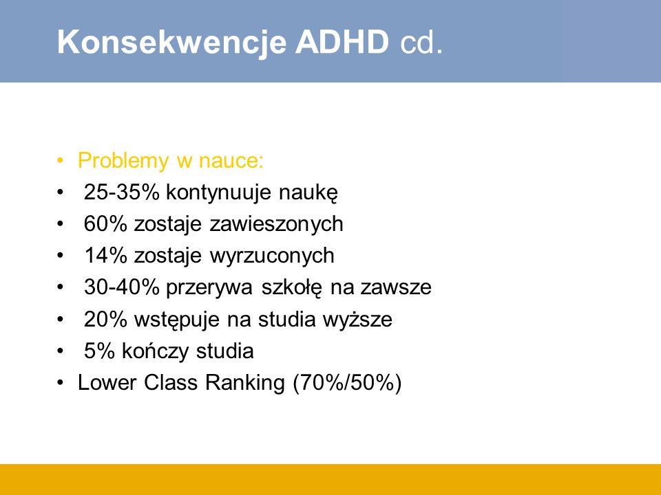 Konsekwencje ADHD cd.