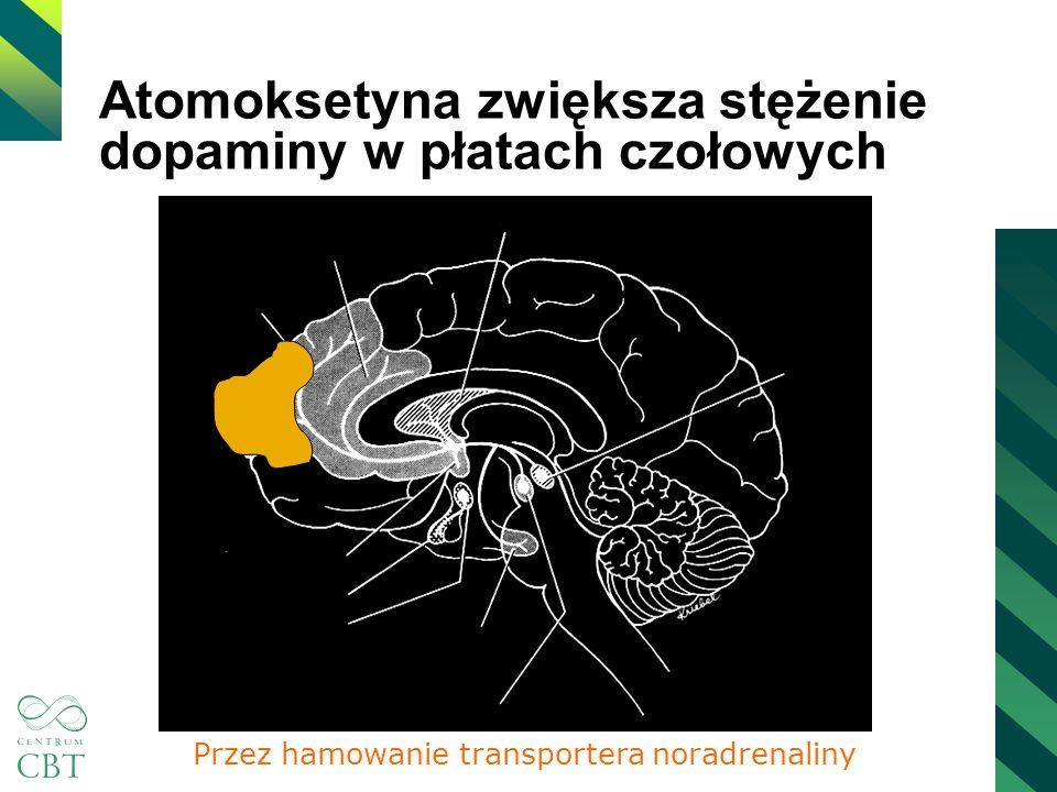 Atomoksetyna zwiększa stężenie dopaminy w płatach czołowych Przez hamowanie transportera noradrenaliny