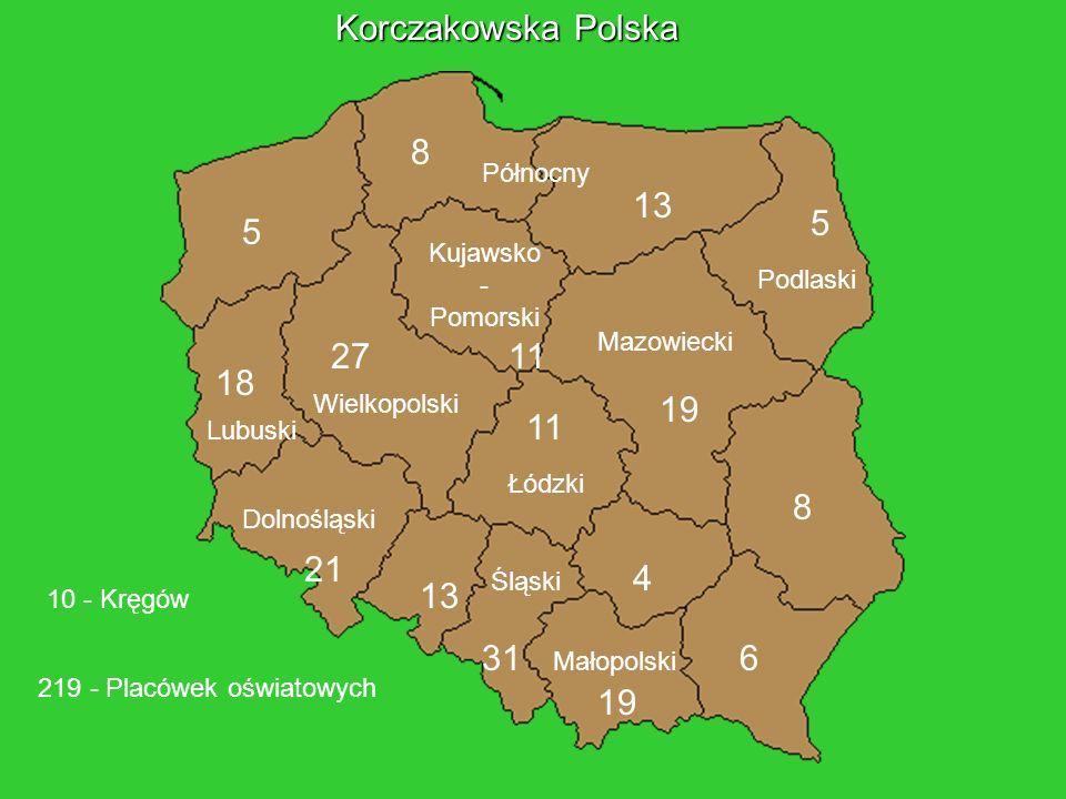 Dolnośląski Lubuski Wielkopolski Północny Podlaski Śląski Małopolski Mazowiecki Łódzki Kujawsko - Pomorski 21 18 5 8 13 1127 19 11 13 31 19 4 8 6 5 21