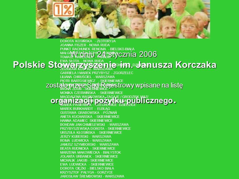 W dniu 24 stycznia 2006 Polskie Stowarzyszenie im. Janusza Korczaka zostało przez Sąd Rejestrowy wpisane na listę organizacji pożytku publicznego. DOR