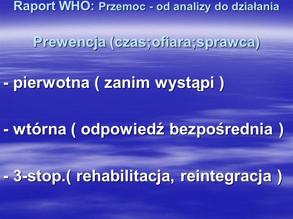 Raport WHO: Przemoc - od analizy do działania Prewencja (czas;ofiara;sprawca) - pierwotna ( zanim wystąpi ) - wtórna ( odpowiedź bezpośrednia ) - 3-st