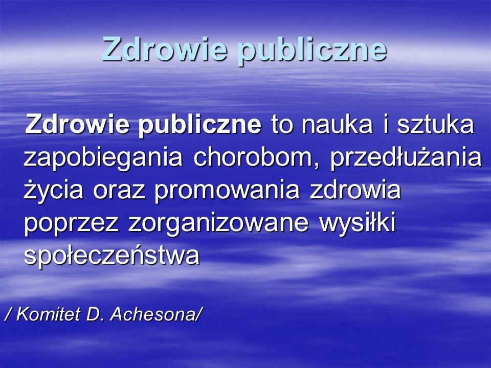 Zdrowie publiczne Zdrowie publiczne to nauka i sztuka zapobiegania chorobom, przedłużania życia oraz promowania zdrowia poprzez zorganizowane wysiłki