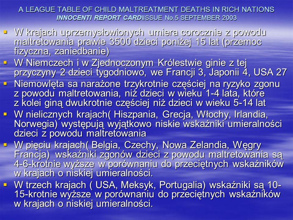 A LEAGUE TABLE OF CHILD MALTREATMENT DEATHS IN RICH NATIONS INNOCENTI REPORT CARD\ISSUE No.5 SEPTEMBER 2003 W krajach uprzemysłowionych umiera coroczn
