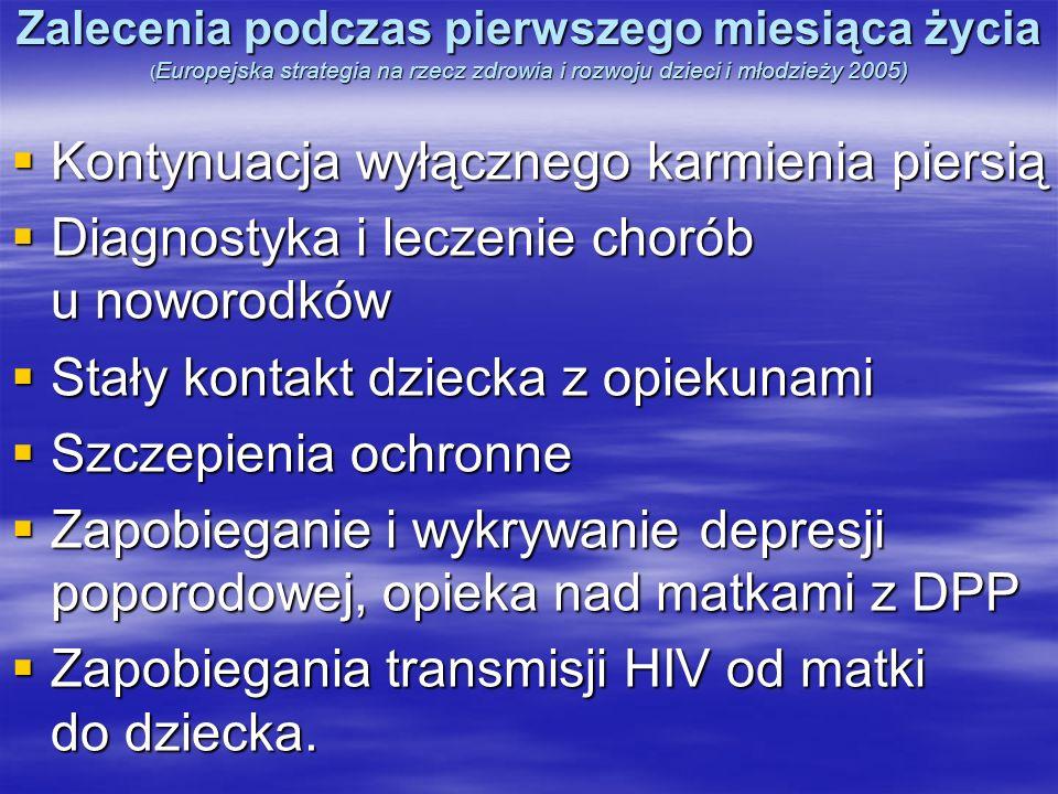 Zalecenia podczas pierwszego miesiąca życia ( Europejska strategia na rzecz zdrowia i rozwoju dzieci i młodzieży 2005) Kontynuacja wyłącznego karmieni