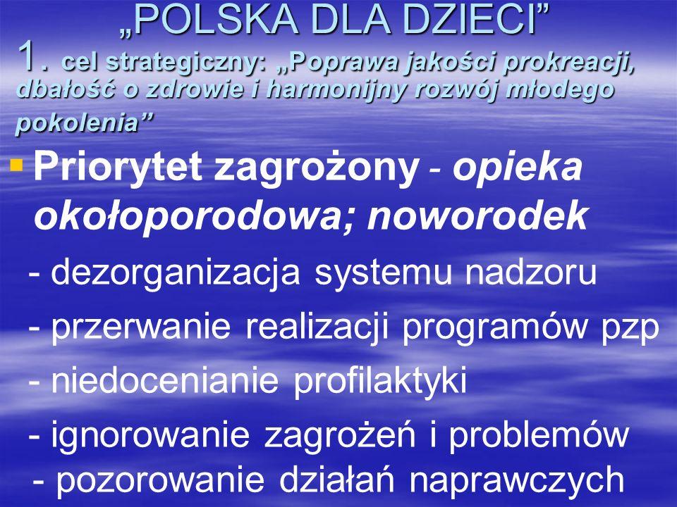 POLSKA DLA DZIECI 1. cel strategiczny: Poprawa jakości prokreacji, dbałość o zdrowie i harmonijny rozwój młodego pokolenia POLSKA DLA DZIECI 1. cel st