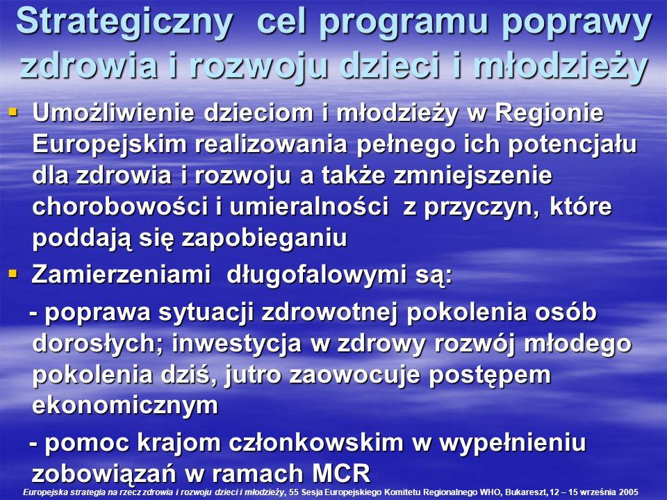 Strategiczny cel programu poprawy zdrowia i rozwoju dzieci i młodzieży Umożliwienie dzieciom i młodzieży w Regionie Europejskim realizowania pełnego i