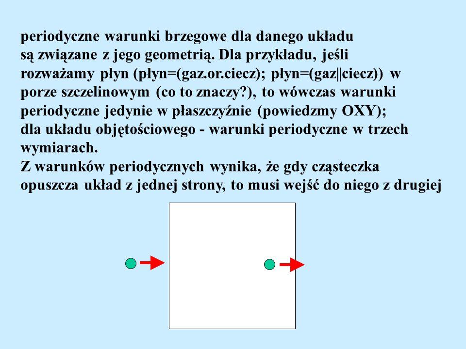 periodyczne warunki brzegowe dla danego układu są związane z jego geometrią. Dla przykładu, jeśli rozważamy płyn (płyn=(gaz.or.ciecz); płyn=(gaz||ciec