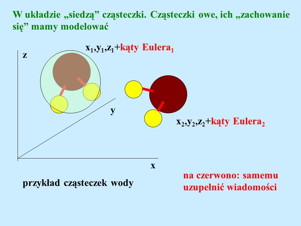W układzie siedzą cząsteczki. Cząsteczki owe, ich zachowanie się mamy modelować x y z x 1,y 1,z 1 +kąty Eulera 1 x 2,y 2,z 2 +kąty Eulera 2 przykład c
