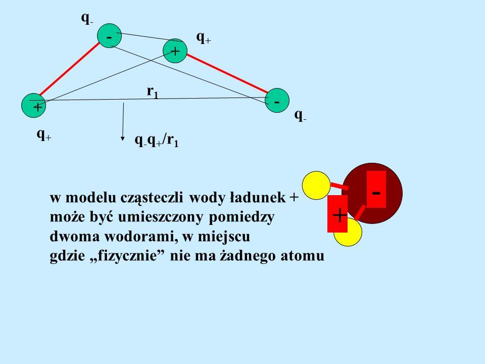 - + - + q+q+ q-q- q-q- q+q+ q - q + /r 1 r1r1 - + w modelu cząsteczli wody ładunek + może być umieszczony pomiedzy dwoma wodorami, w miejscu gdzie fiz