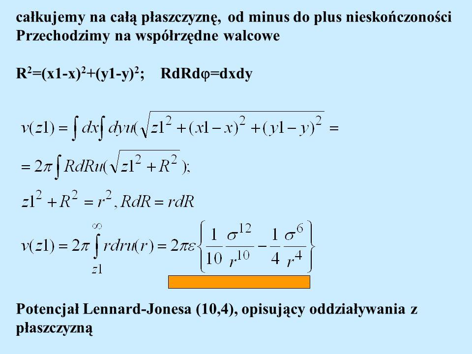 całkujemy na całą płaszczyznę, od minus do plus nieskończoności Przechodzimy na współrzędne walcowe R 2 =(x1-x) 2 +(y1-y) 2 ; RdRd =dxdy Potencjał Lennard-Jonesa (10,4), opisujący oddziaływania z płaszczyzną
