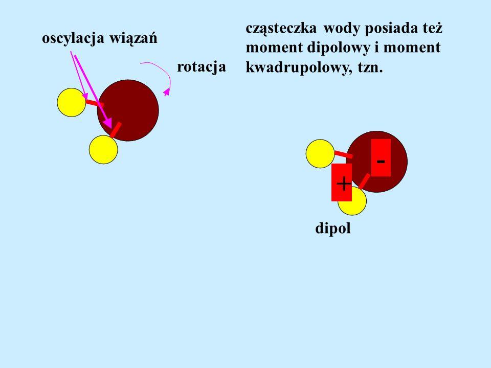 oscylacja wiązań rotacja cząsteczka wody posiada też moment dipolowy i moment kwadrupolowy, tzn. - + dipol