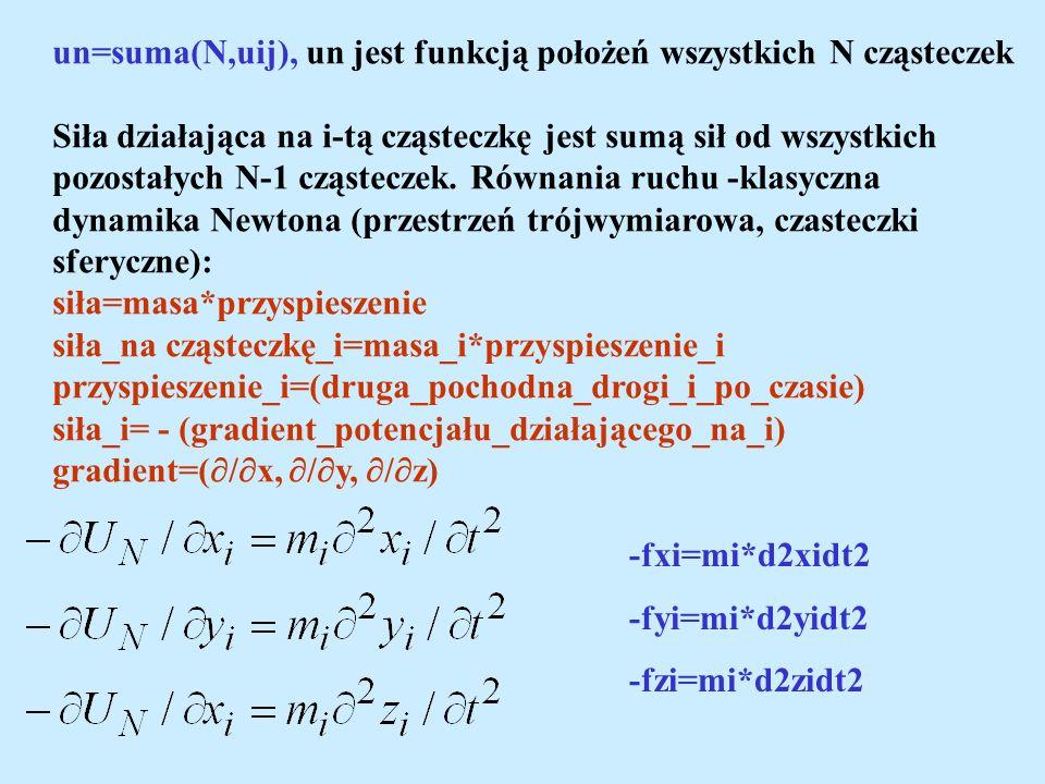 un=suma(N,uij), un jest funkcją położeń wszystkich N cząsteczek Siła działająca na i-tą cząsteczkę jest sumą sił od wszystkich pozostałych N-1 cząstec