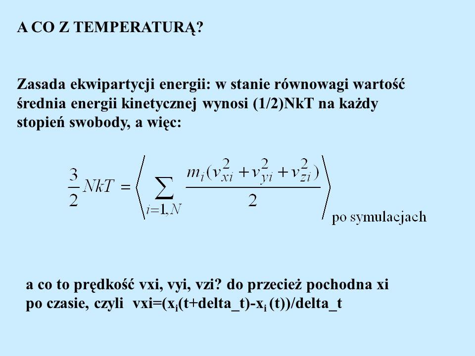 A CO Z TEMPERATURĄ? Zasada ekwipartycji energii: w stanie równowagi wartość średnia energii kinetycznej wynosi (1/2)NkT na każdy stopień swobody, a wi