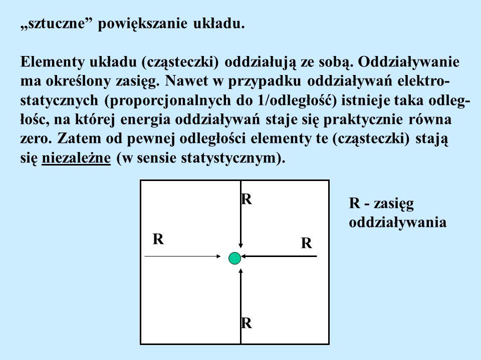 sztuczne powiększanie układu. Elementy układu (cząsteczki) oddziałują ze sobą. Oddziaływanie ma określony zasięg. Nawet w przypadku oddziaływań elektr