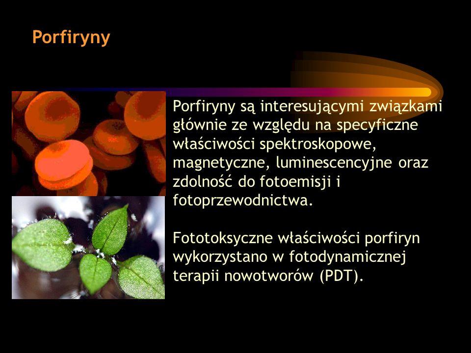Porfiryny Porfiryny są interesującymi związkami głównie ze względu na specyficzne właściwości spektroskopowe, magnetyczne, luminescencyjne oraz zdolno