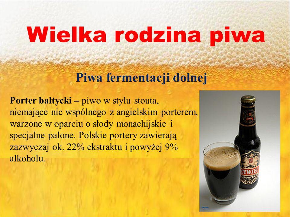 Wielka rodzina piwa Piwa fermentacji dolnej Porter bałtycki – piwo w stylu stouta, niemające nic wspólnego z angielskim porterem, warzone w oparciu o