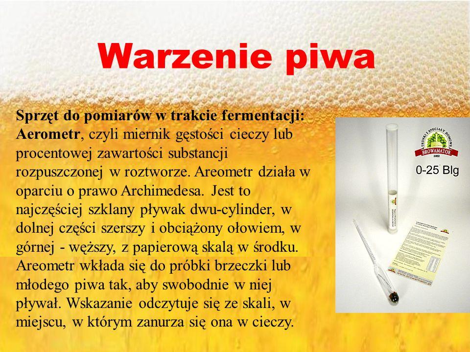 Warzenie piwa Sprzęt do pomiarów w trakcie fermentacji: Aerometr, czyli miernik gęstości cieczy lub procentowej zawartości substancji rozpuszczonej w