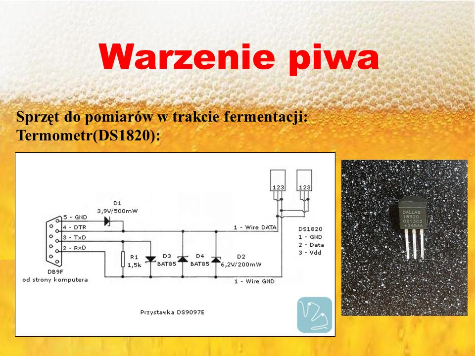 Warzenie piwa Sprzęt do pomiarów w trakcie fermentacji: Termometr(DS1820):