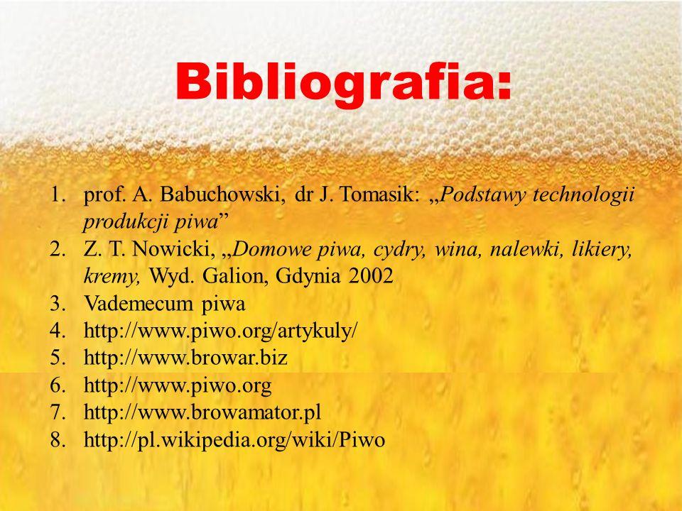 Bibliografia: 1.prof. A. Babuchowski, dr J. Tomasik: Podstawy technologii produkcji piwa 2.Z. T. Nowicki, Domowe piwa, cydry, wina, nalewki, likiery,