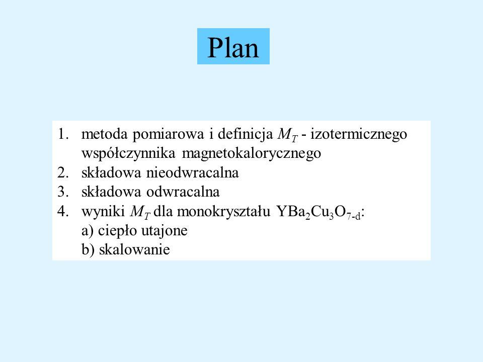 Plan 1.metoda pomiarowa i definicja M T - izotermicznego współczynnika magnetokalorycznego 2.składowa nieodwracalna 3.składowa odwracalna 4.wyniki M T