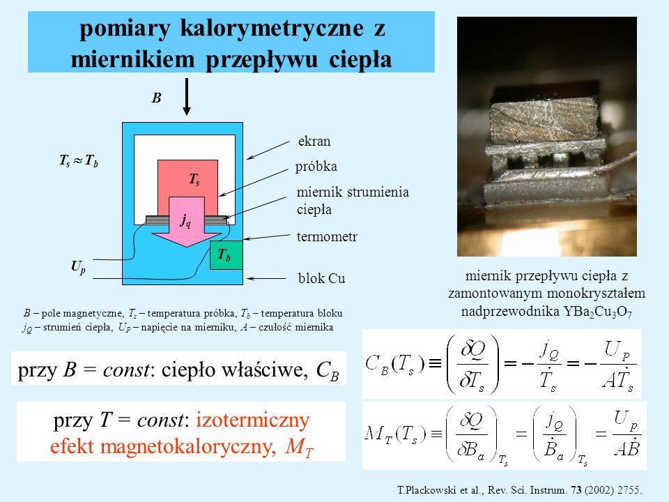 pomiary kalorymetryczne z miernikiem przepływu ciepła przy B = const: ciepło właściwe, C B przy T = const: izotermiczny efekt magnetokaloryczny, M T m