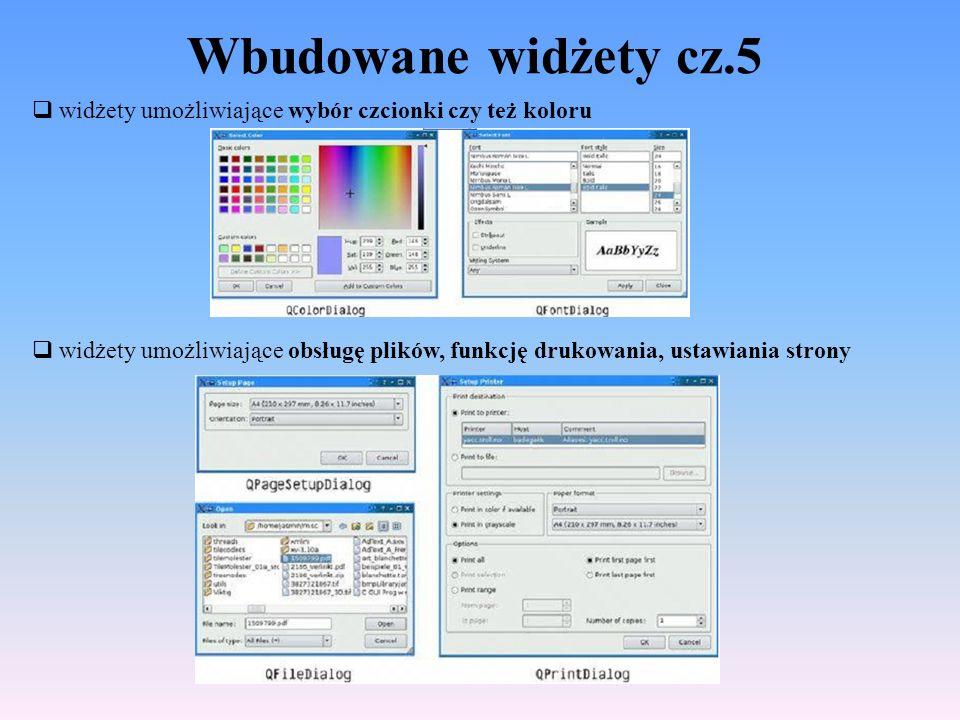 Wbudowane widżety cz.5 widżety umożliwiające wybór czcionki czy też koloru widżety umożliwiające obsługę plików, funkcję drukowania, ustawiania strony