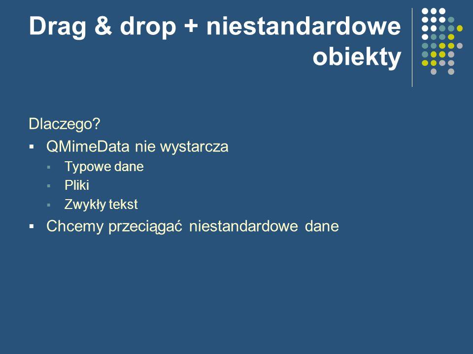 Drag & drop + niestandardowe obiekty Dlaczego? QMimeData nie wystarcza Typowe dane Pliki Zwykły tekst Chcemy przeciągać niestandardowe dane
