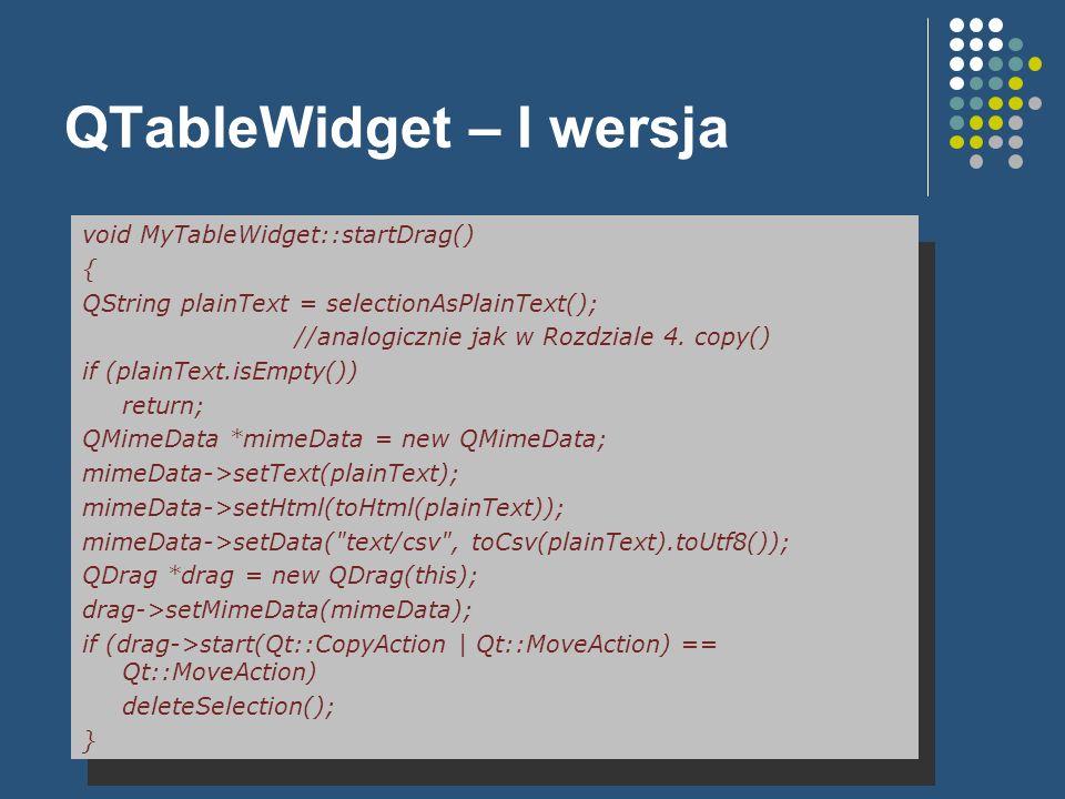 QTableWidget – I wersja void MyTableWidget::startDrag() { QString plainText = selectionAsPlainText(); //analogicznie jak w Rozdziale 4. copy() if (pla