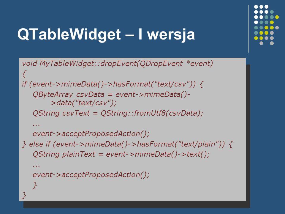 QTableWidget – I wersja void MyTableWidget::dropEvent(QDropEvent *event) { if (event->mimeData()->hasFormat(