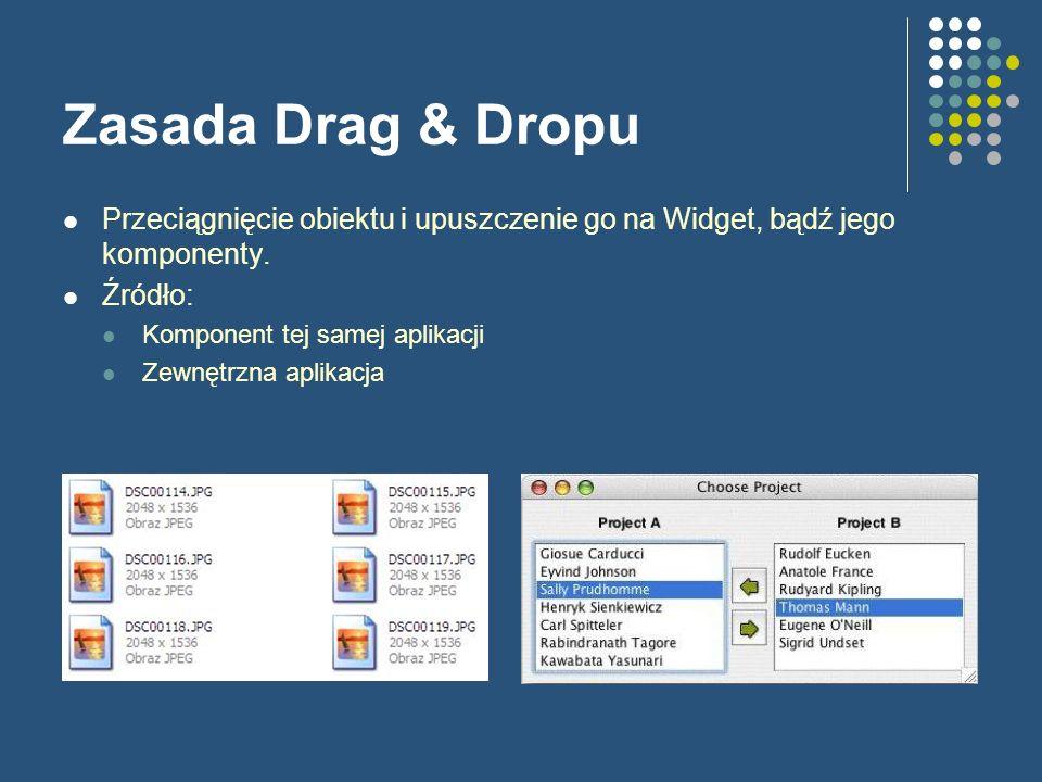 Zasada Drag & Dropu Przeciągnięcie obiektu i upuszczenie go na Widget, bądź jego komponenty. Źródło: Komponent tej samej aplikacji Zewnętrzna aplikacj