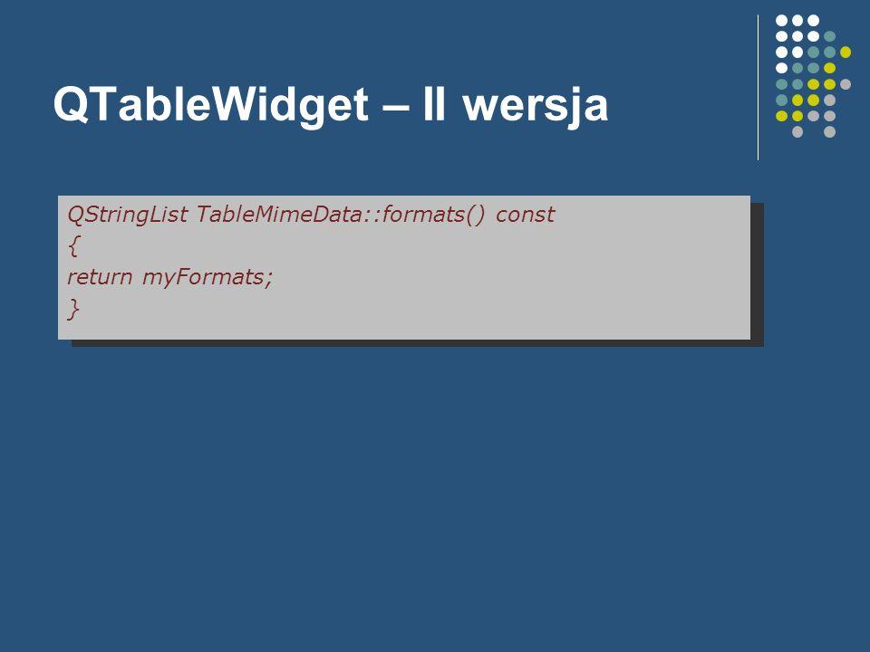 QTableWidget – II wersja QStringList TableMimeData::formats() const { return myFormats; }
