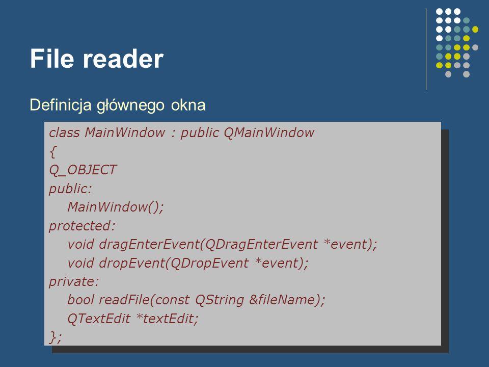 QTableWidget – I wersja void MyTableWidget::dropEvent(QDropEvent *event) { if (event->mimeData()->hasFormat( text/csv )) { QByteArray csvData = event->mimeData()- >data( text/csv ); QString csvText = QString::fromUtf8(csvData);...