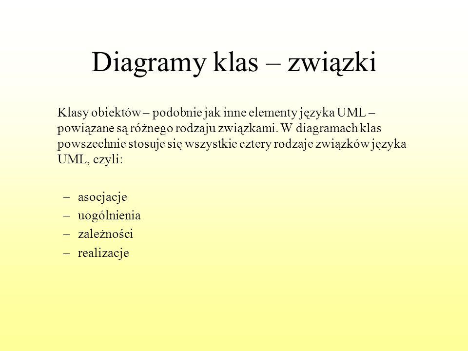 Diagramy klas – związki Klasy obiektów – podobnie jak inne elementy języka UML – powiązane są różnego rodzaju związkami. W diagramach klas powszechnie