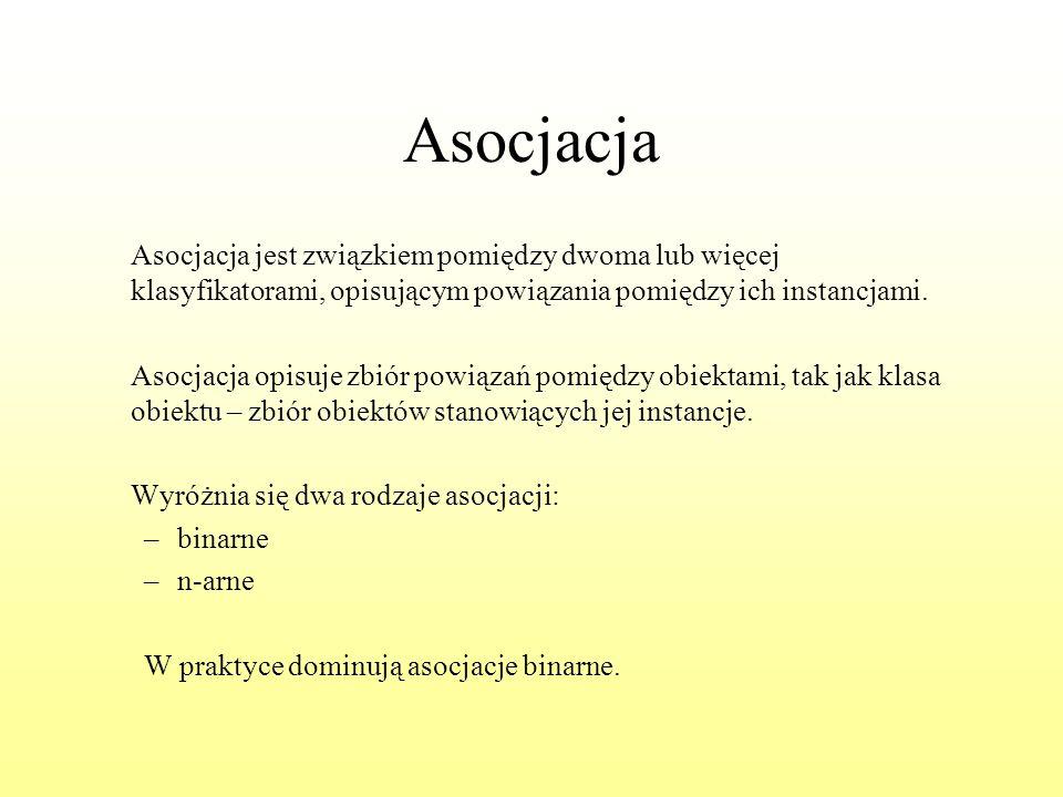 Asocjacja Asocjacja jest związkiem pomiędzy dwoma lub więcej klasyfikatorami, opisującym powiązania pomiędzy ich instancjami. Asocjacja opisuje zbiór