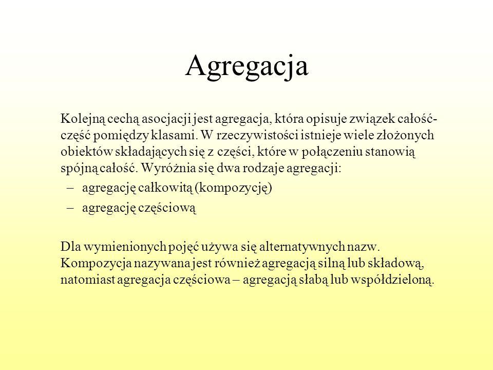 Agregacja Kolejną cechą asocjacji jest agregacja, która opisuje związek całość- część pomiędzy klasami. W rzeczywistości istnieje wiele złożonych obie