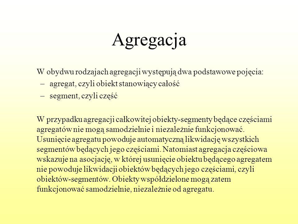 Agregacja W obydwu rodzajach agregacji występują dwa podstawowe pojęcia: –agregat, czyli obiekt stanowiący całość –segment, czyli część W przypadku ag