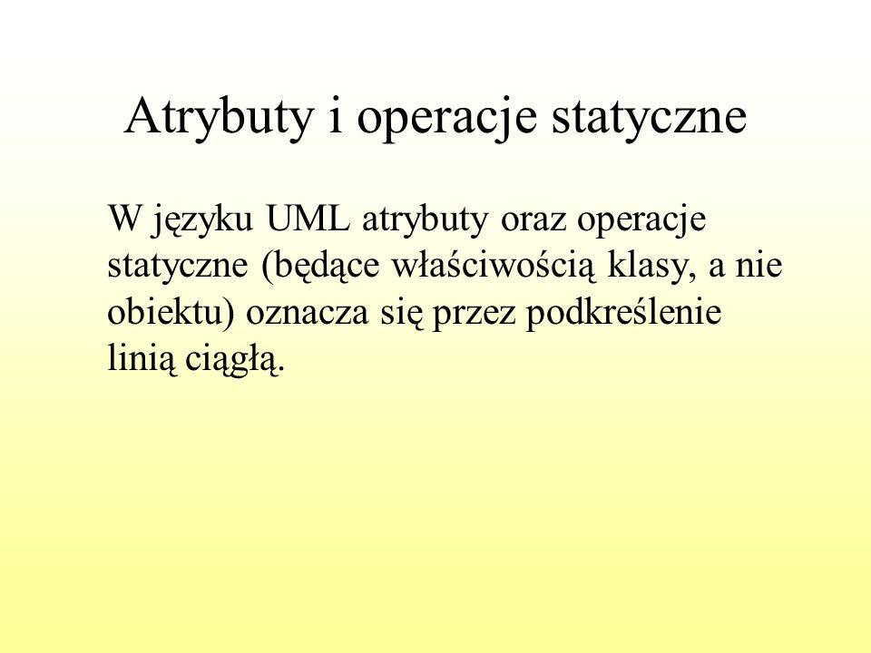 Atrybuty i operacje statyczne W języku UML atrybuty oraz operacje statyczne (będące właściwością klasy, a nie obiektu) oznacza się przez podkreślenie