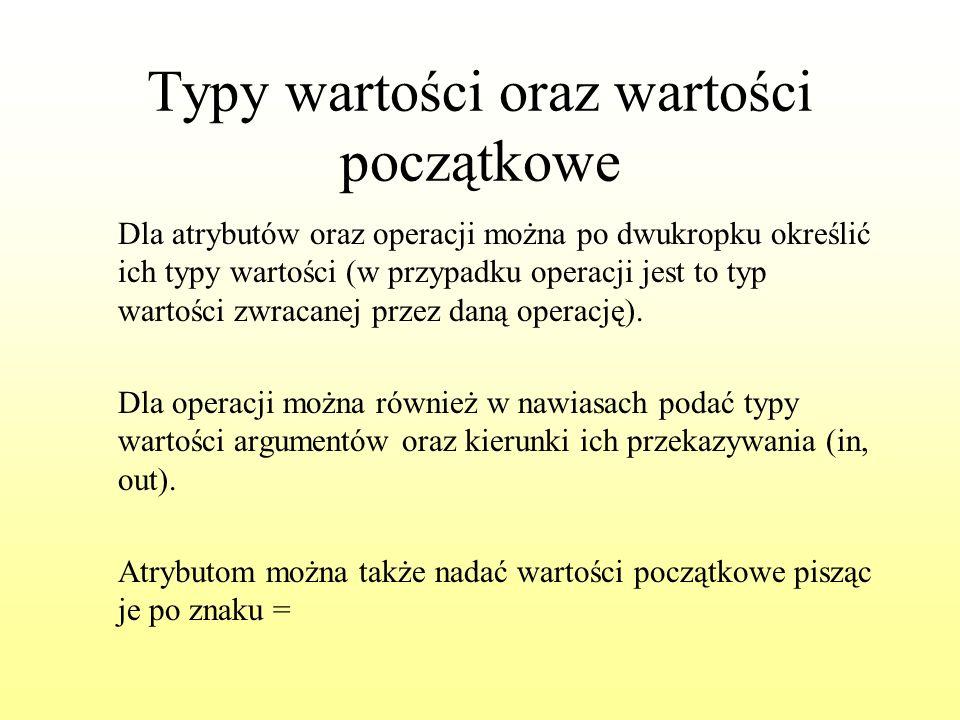 Typy wartości oraz wartości początkowe Dla atrybutów oraz operacji można po dwukropku określić ich typy wartości (w przypadku operacji jest to typ war