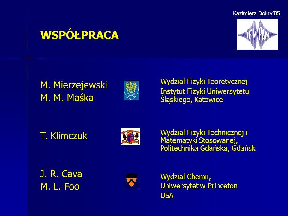WSPÓŁPRACA M. Mierzejewski M. M. Maśka T. Klimczuk J. R. Cava M. L. Foo Wydział Fizyki Teoretycznej Instytut Fizyki Uniwersytetu Śląskiego, Katowice W