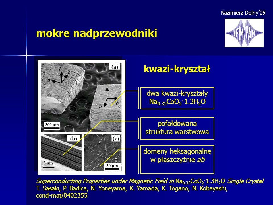 Kazimierz Dolny05 mokre nadprzewodniki dwa kwazi-kryształy Na 0.35 CoO 2 ·1.3H 2 O pofałdowana struktura warstwowa domeny heksagonalne w płaszczyźnie