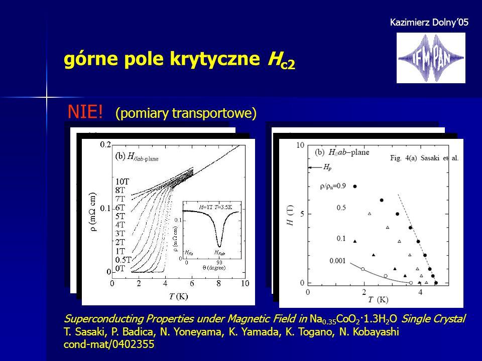 Kazimierz Dolny05 górne pole krytyczne H c2 NIE! (pomiary transportowe) Superconducting Properties under Magnetic Field in Na 0.35 CoO 2 ·1.3H 2 O Sin