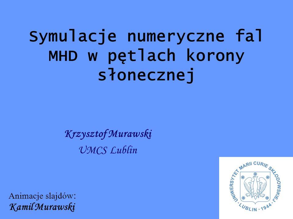Krzysztof Murawski UMCS Lublin Symulacje numeryczne fal MHD w pętlach korony słonecznej Animacje slajdów : Kamil Murawski