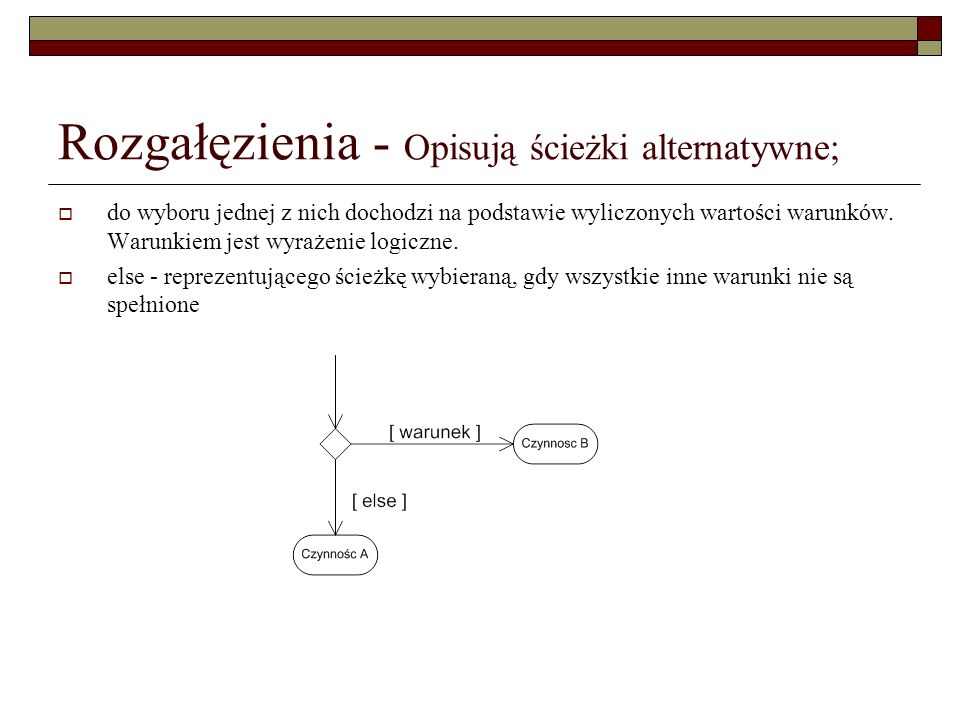 Rozgałęzienia - Opisują ścieżki alternatywne; do wyboru jednej z nich dochodzi na podstawie wyliczonych wartości warunków. Warunkiem jest wyrażenie lo