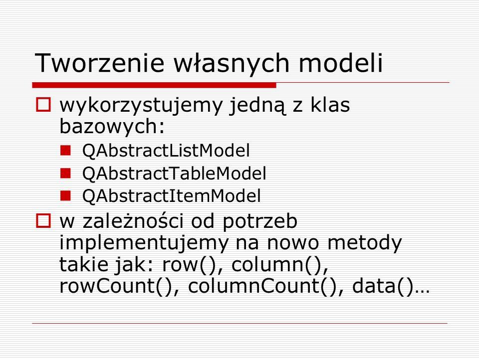 Tworzenie własnych modeli wykorzystujemy jedną z klas bazowych: QAbstractListModel QAbstractTableModel QAbstractItemModel w zależności od potrzeb impl