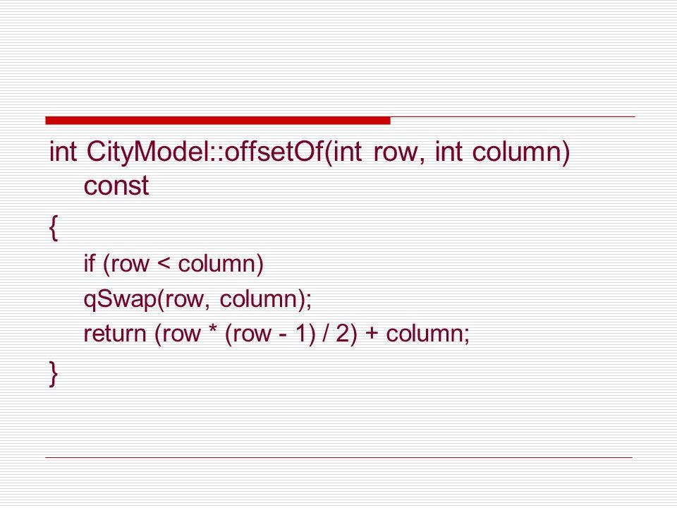 int CityModel::offsetOf(int row, int column) const { if (row < column) qSwap(row, column); return (row * (row - 1) / 2) + column; }