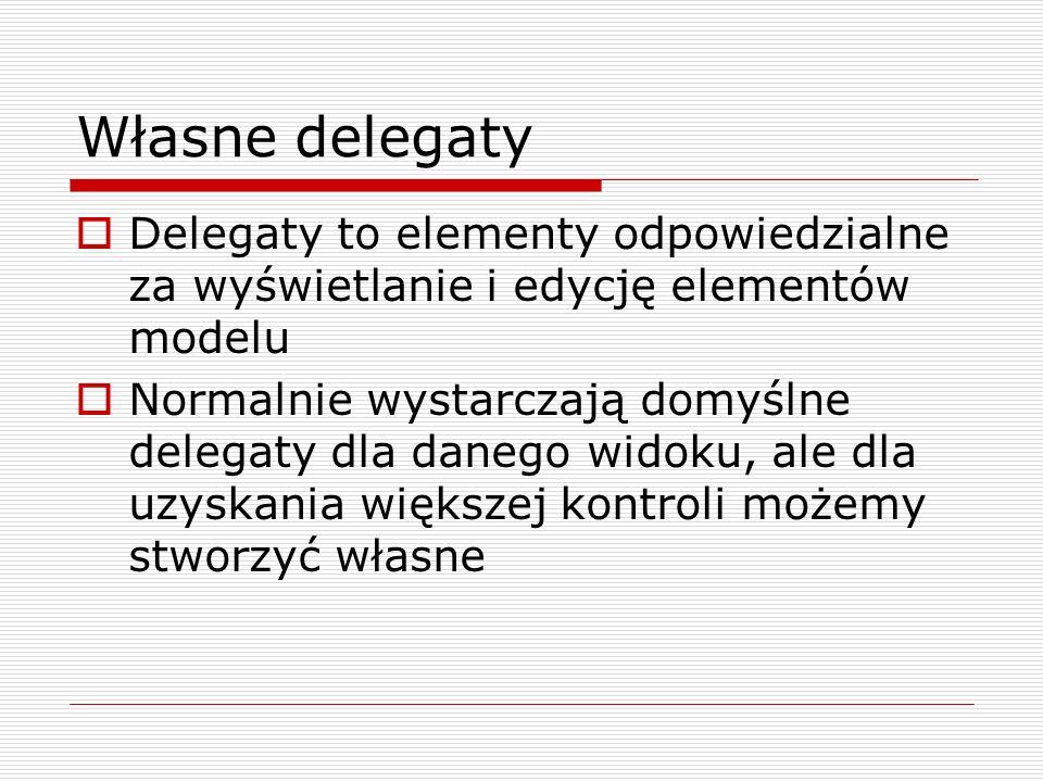 Własne delegaty Delegaty to elementy odpowiedzialne za wyświetlanie i edycję elementów modelu Normalnie wystarczają domyślne delegaty dla danego widok